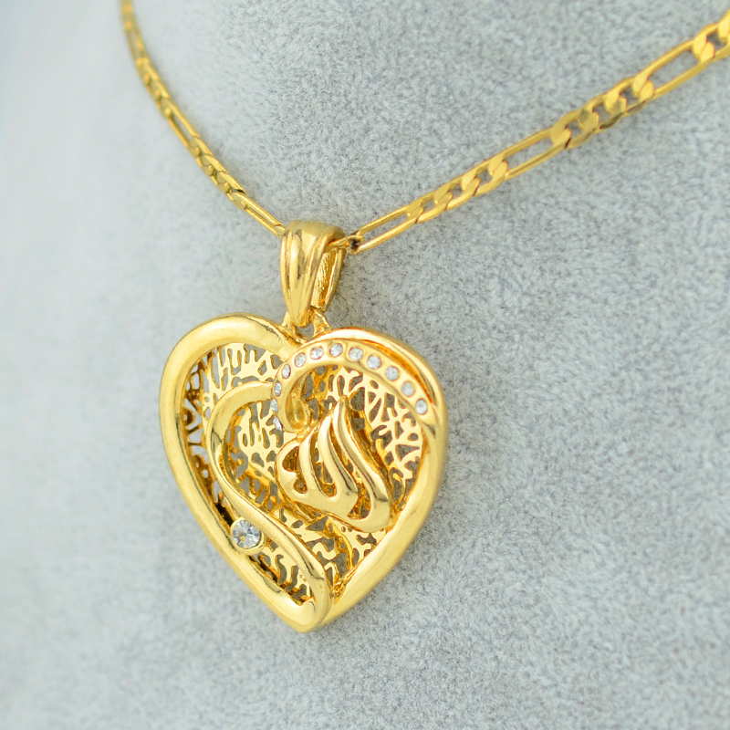 22k yellow real gold filling plated heart allah necklace pendants 22k yellow real gold filling plated heart allah necklace pendants women girl islamic jewelry muslim arab imam ali link chain new in pendant necklaces from aloadofball