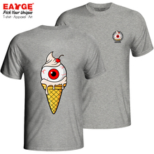 Cream Ice Zombie Eyeball T-shirt Print Style Novelty T Shirt Brand Funny Design Women Men Cotton Double Sided Top Gray Tee недорого