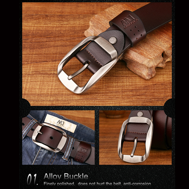 High Quality Genuine Leather Luxury Strap Male Belts For Men Jeans Casual Belt Pin Buckle Masculine Cummerbund
