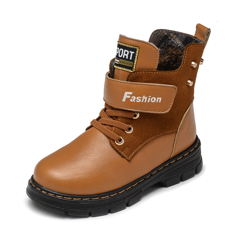 Image 4 - Children Boots Autumn And Winter Leather School Boy Shoes Fashion In The Calf Snow Boots Plush Warm Waterproof Kids Martin Boots-in Boots from Mother & Kids