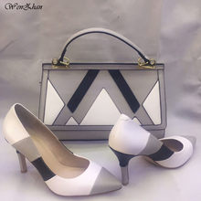 Women Sexy Pumps With Handbag Sets White Mixed Grey Color Thin Heel Pointed  Toe Soft Shoes With Bag Custom heel Accept! A84-17 bf3851cb32f0