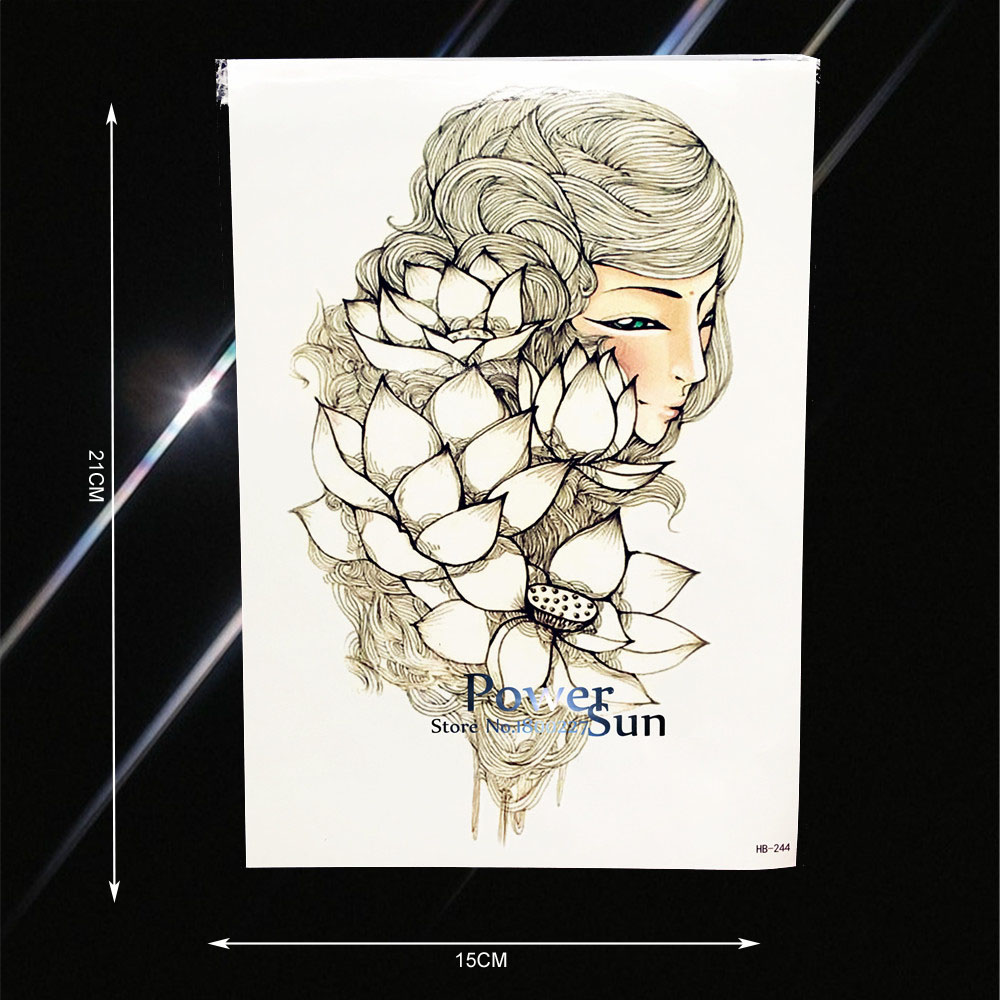 1PC Body Shoulder Art Arm Tattoo White Lotus Fairy Design Waterproof Leg Decals Temporary Tattoo Sleeve Wall Stickers PHB244
