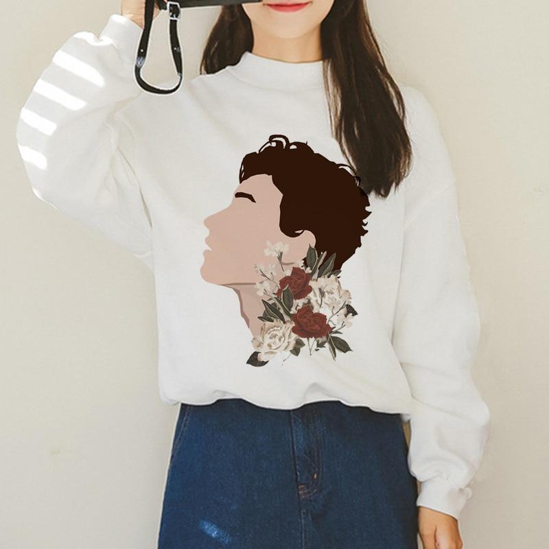 Shawn Mendes Hoodie Sweatshirt Women Harajuku Print Streetwear Hoodies 90s Fashion Sweatshirts Graphic Pullovers Hoody  Female
