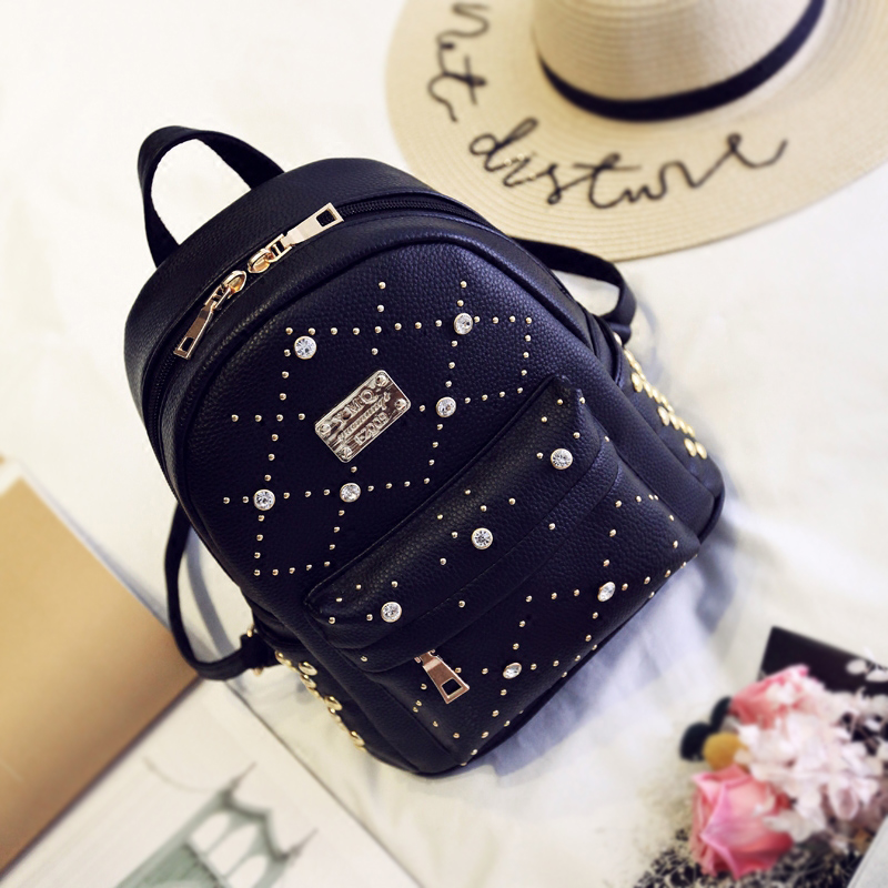 women leather backpacks for girls female fashion bags rivet appliques diamonds sequined zipper cute luxury ladies backpack new arrival set of four rivet with embossing backpack female rivet woolly bear pendant with fashion backpacks b 40