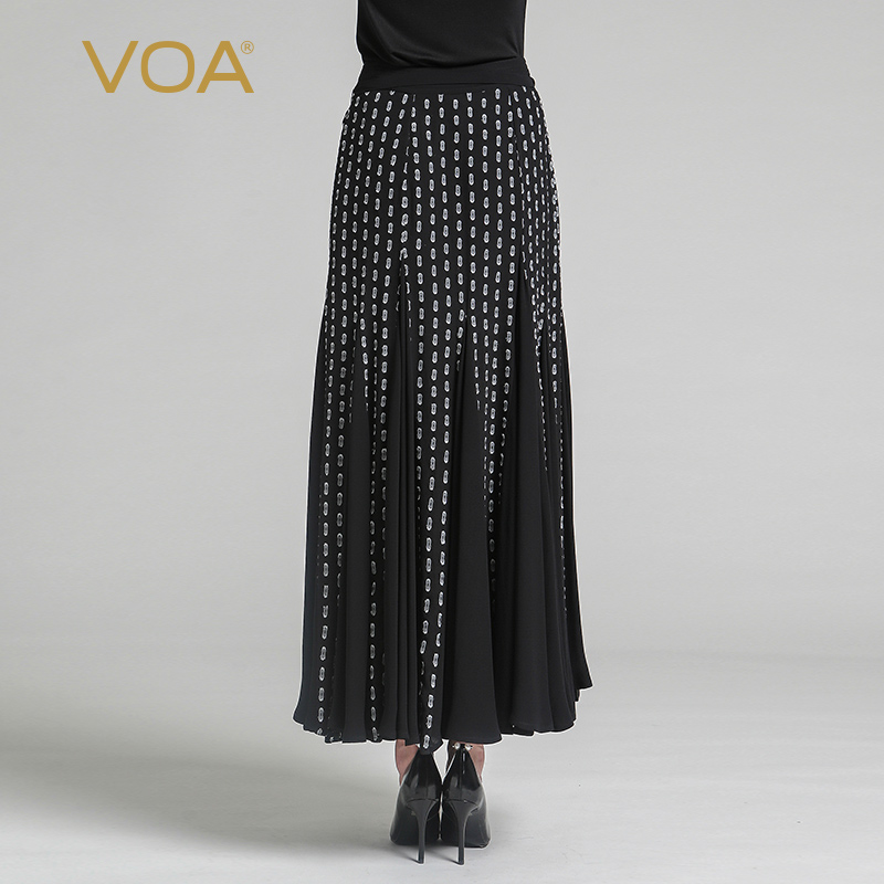 8a0e2eb2c8b VOA 2018 Summer New Black Silk Maxi Skirt Georgette Chiffon Wave Point Plus  Size Fashion Women Package Hip Long Skirt CLA00801-in Skirts from Women s  ...