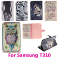 Lion Tiger Tablet PC Flip Leather Case for Samsung Galaxy Tab 3 8.0 T310 Cover Shell Protective Skin Bag Black and Pink Inside