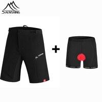 SAENSHING Cycling Shorts Men Downhill Mtb Shorts+Cycling underwear Gel Pad Bicycle mountain bike shorts bermuda culote ciclismo