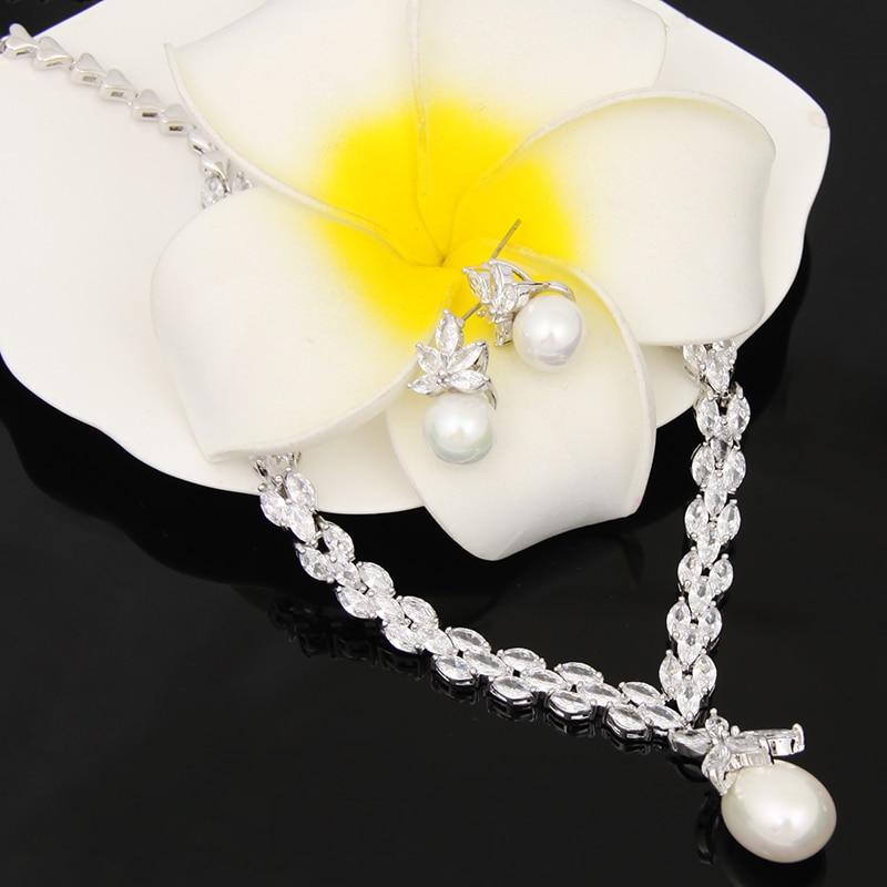 Élégant simulé perle bijoux de mariée ensembles de bijoux de mariage feuille cristal colliers boucles d'oreilles ensembles de bijoux pour les femmes AS087 - 6