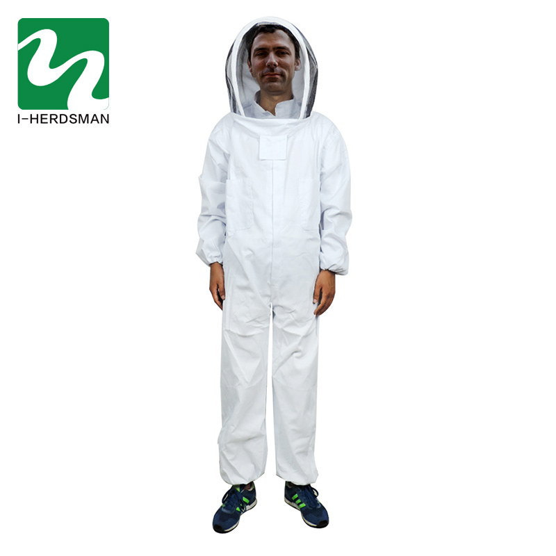 Professional Cotton Full Body Beekeeping Suit with Self Supporting Veil Hood L XL Beekeeping Tool