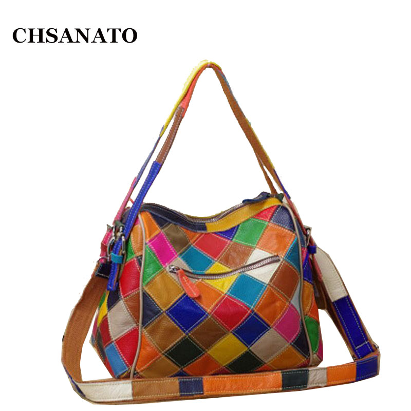 CHSANATO Luxury Handbags Women Bags Designer High Quality Colorful Genuine Leather Geometric Zippers Tote For Girls