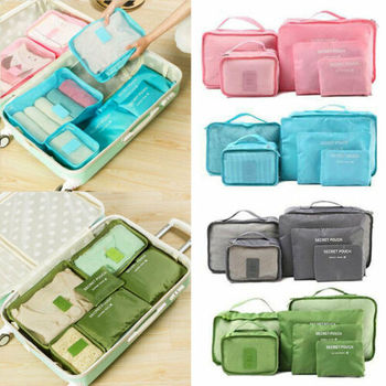 6Pcs Set Travel Storage Bags Waterproof Clothes Packing Cube Luggage Organizer Pouch