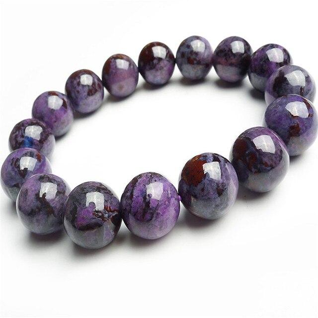 13mm Just One Genuine Purple Sugilite Natural Stone Bracelets For Women Femme Charm Stretch Round Bead Bracelet