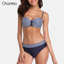 Charmo Women Bikini Set Retro swimwear Striped Bikini Floral Printed Swimwear Women Sexy Swimsuit underwire vintage bikini set