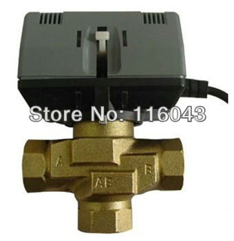 24VAC 110VAC 220VAC 1 motorized 3 way valve for fan coil water system 3 wires