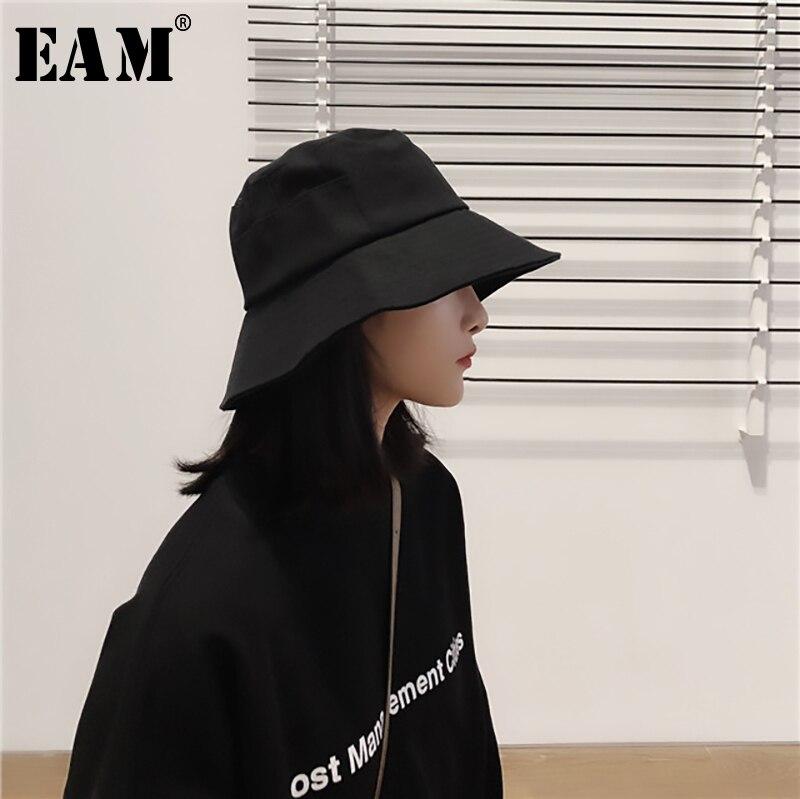 [EAM] 2020 New Spring Summer Round Dome Brief Spliced Temperament Solid Wild Fishermen Hat Women Fashion Tide All-match JY332