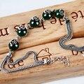 925-sterling-silver DIY зеленый халцедон агат, серебро 925 ювелирные изделия браслет для женщин круглый камень pulseiras браслеты bijoux