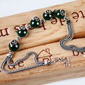 925-sterling-silver DIY calcedonia verde ágata plata 925 pulsera de la joyería para las mujeres pulseiras brazaletes bijoux piedra redonda