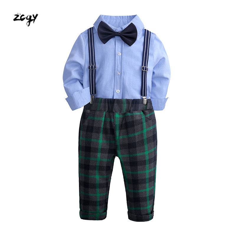 Autumn Toddler Boy Clothes Gentleman Children Clothing Sets Products Kids Clothes Baby Boys T-shirts+Pants+tie 4PCS Tracksuit