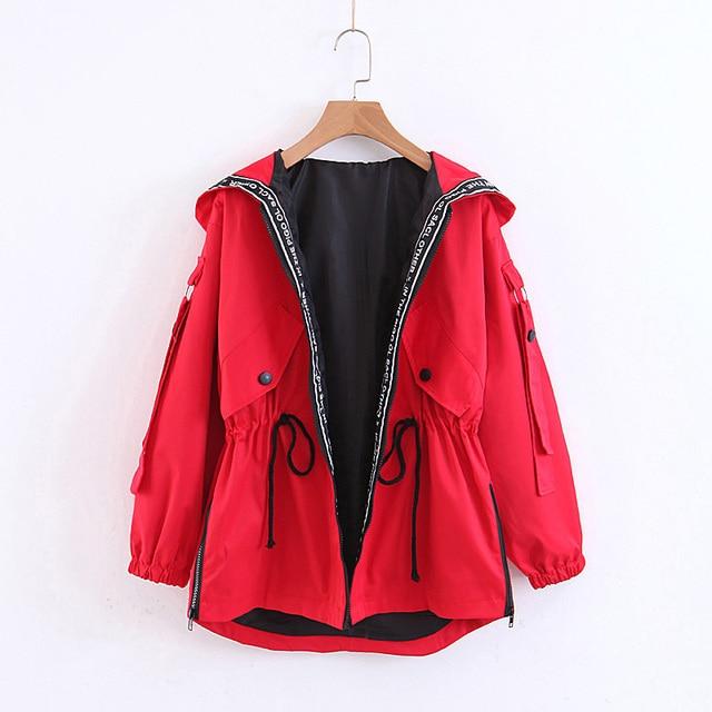 Women Autumn Hooded Black Jacket Ladies Patchwork Red Slim Coat Women-s Letter Print Short Outwear Harajuku Korean Clothes