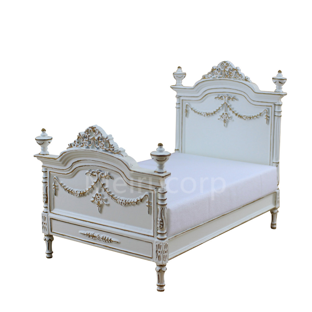 Dollhouse miniature furniture 1/12 scale well made handcrafted bed 1 12 scale dollhouse miniature furniture retro european palace bedroom bed 10339