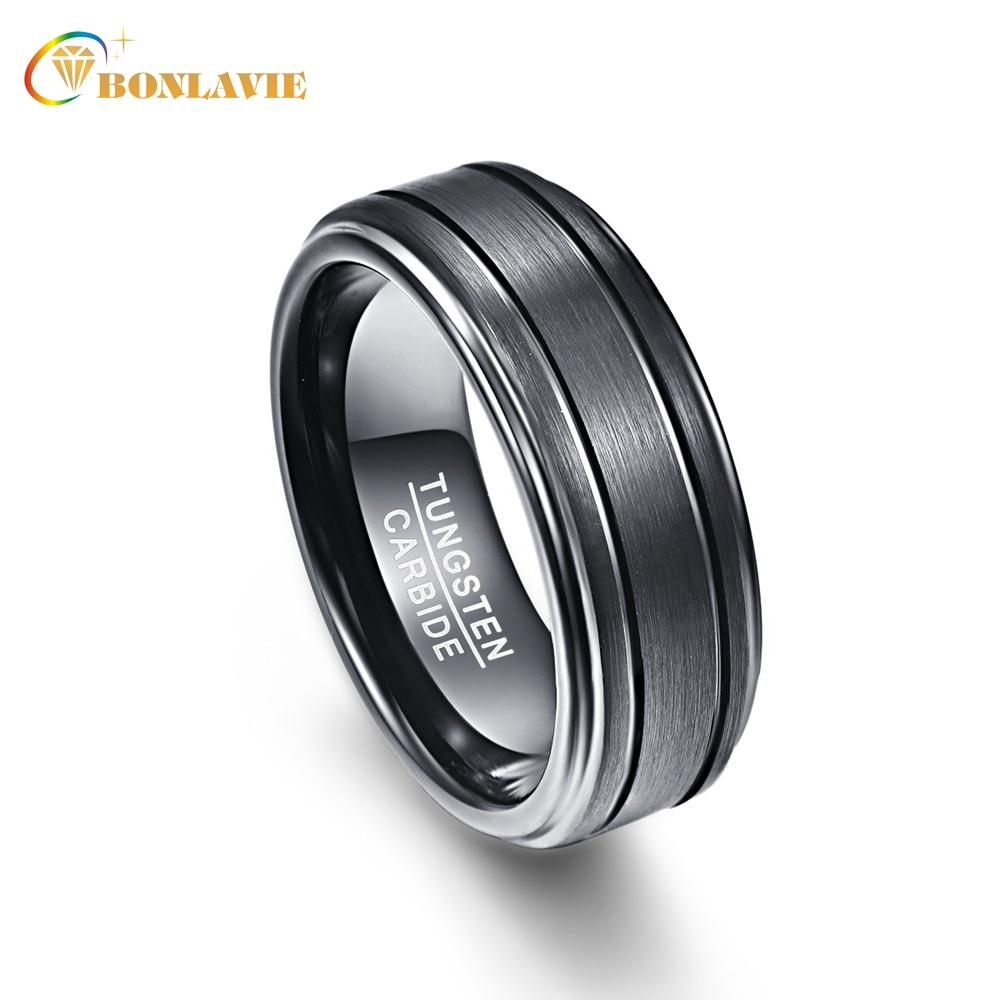 Черный обещание группа Для мужчин Кольца 100% Вольфрам карбида Обручальные кольца anillos Para Hombres pierscienie 8 мм Ширина
