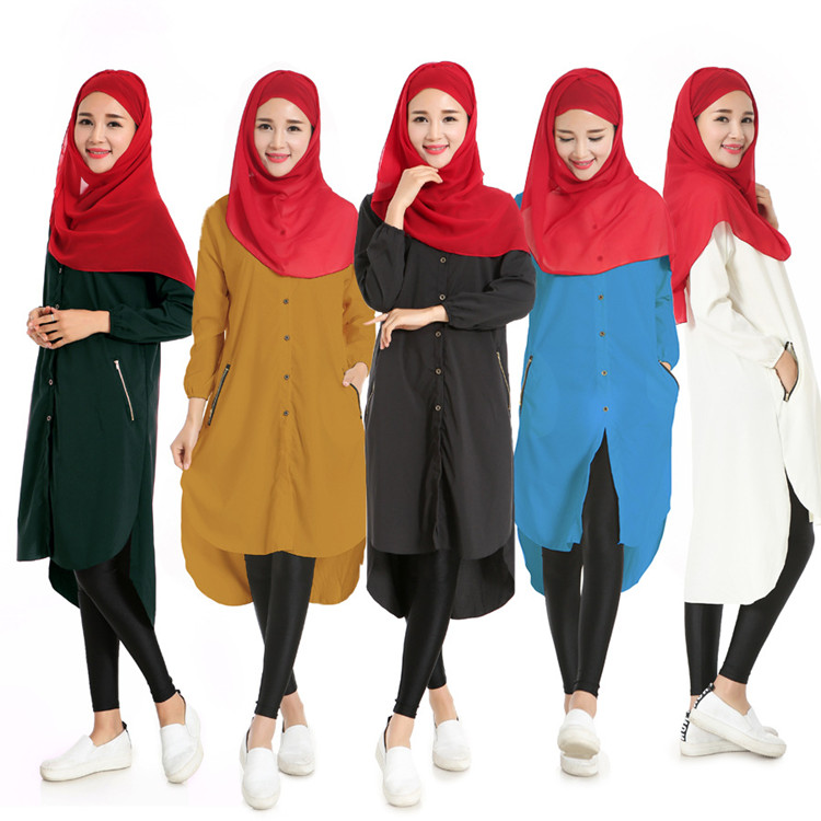 Женские топы из шифона с длинным рукавом футболки мусульманские