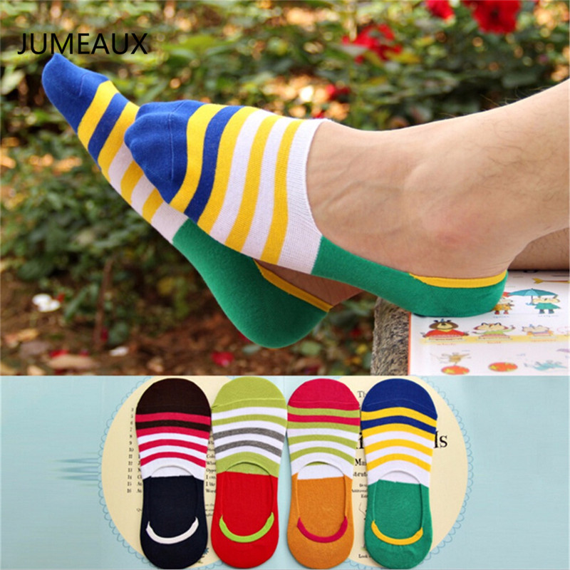JUMEAUX New Casual Men's Socks Compression Sock Summer Thin Stripe Mens Socks Four Color Available Harajuku Style