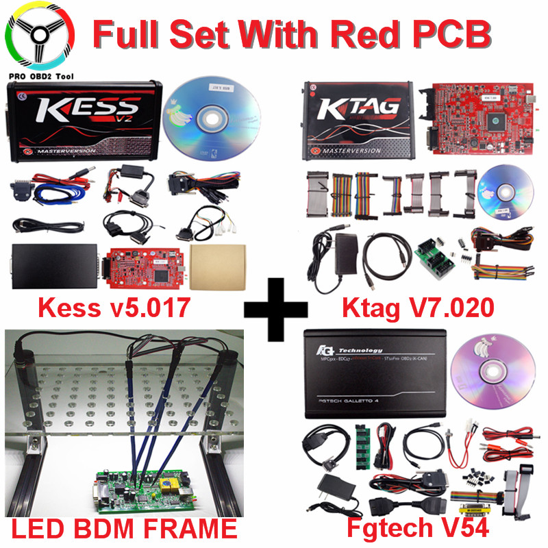 En ligne L'UE Rouge Kess V5.017 2018 Nouvellement Kess Ktag Maître Aucun Jeton Ktag V7.020 Gestionnaire Tuning Kit Kess V2 Ktag v2.23 ECU Programmeur