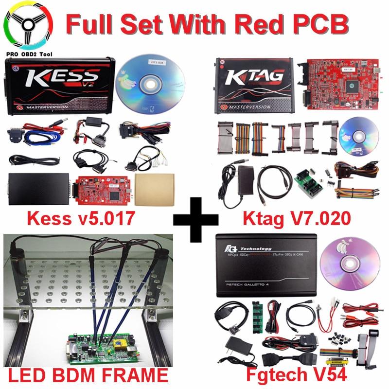 Online EU Red Kess V5.017 2018 Newly Kess Ktag Master No Token Ktag V7.020 Manager Tuning Kit Kess V2 Ktag V2.23 ECU Programmer