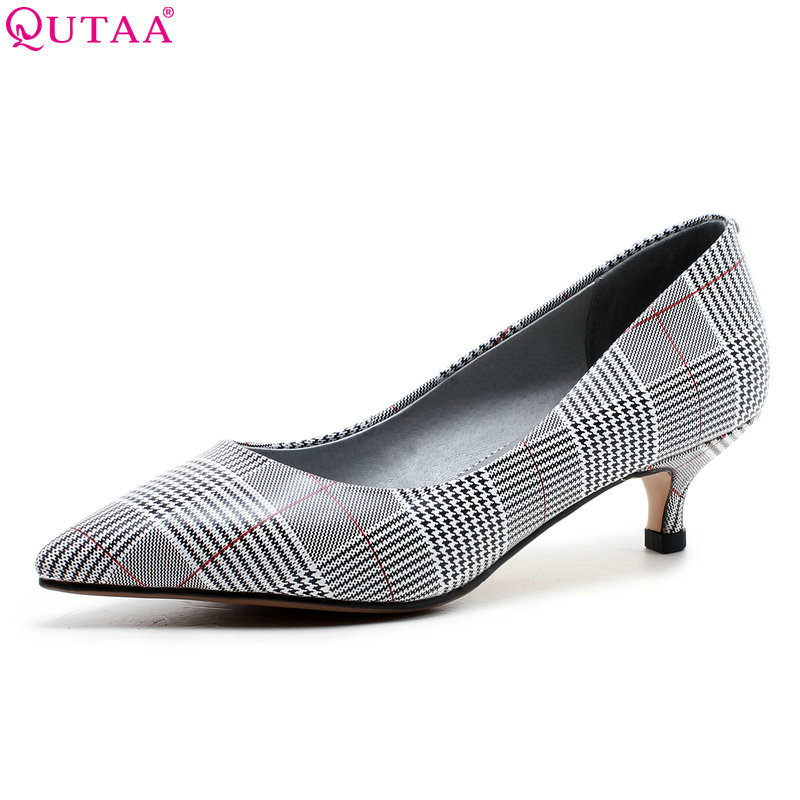 QUTAA 2018 New Fashion Women Shoes Pointed Toe Genuine Leather +pu Thin Heel Shoes Platform  Casual Ladies Pumps Szie 34-43 women ladies flats vintage pu leather loafers pointed toe silver metal design