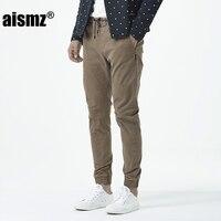Aismz Mens Slim Fashion Chino Pants Darked Wash Mens Slim Chinos Casual Pants Black Army Green