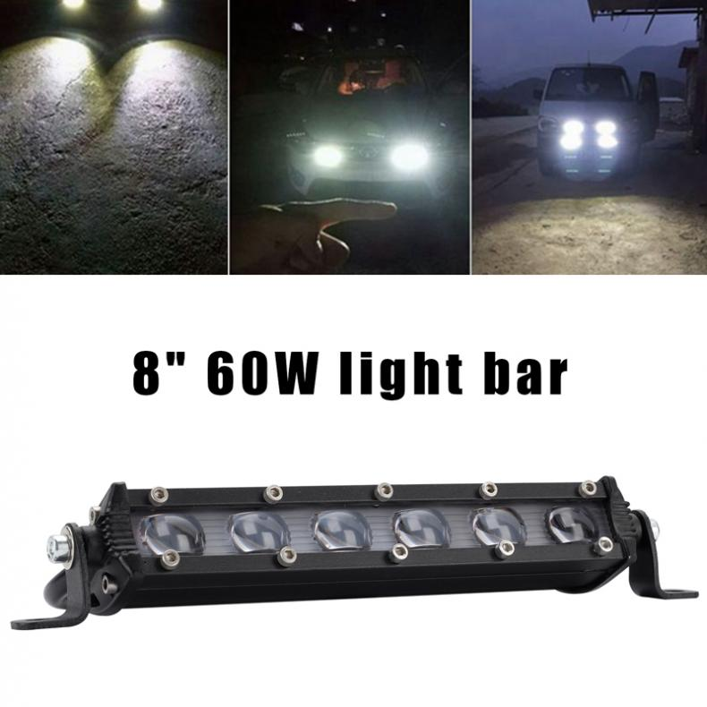 2X 8INCH 36W LED Work Light Bar Spot//Flood Offroad SUV Car Boat Driving Lamp 4WD