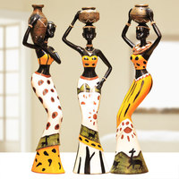 3 Pcs Lot Creative Resin African Character Ornaments Home Decoration Handicrafts