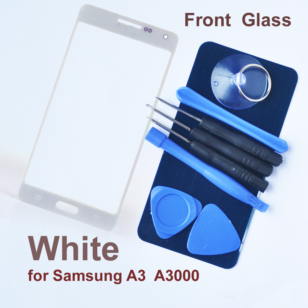 White Front Glass For Samsung A3 A3000 A300X A300 A300H Glass Top Cover LCD Touch Panel Lens Parts + 3M Adhesive + 8 Tools
