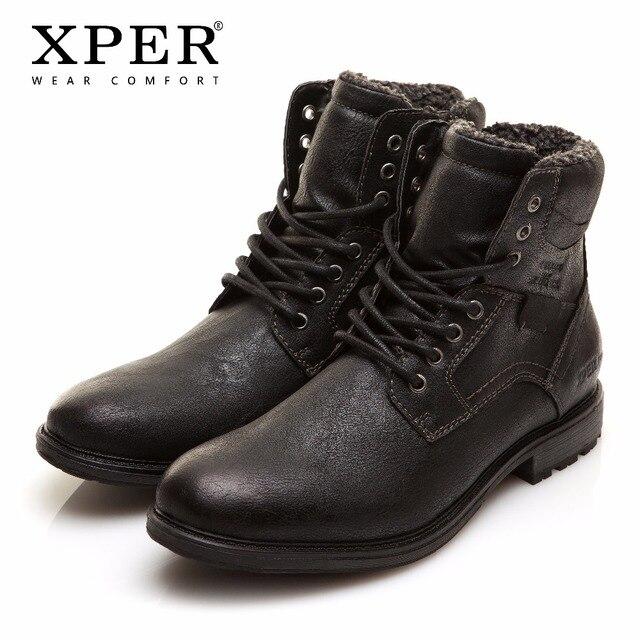 Мужские зимние сапоги большой размер 41-46 теплые удобные рабочие Предметы безопасности 2017 Зима Кружева на молнии и шнуровке Мужская обувь бренд xper # XHY12509BL