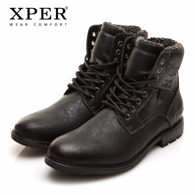 Erkekler kış çizmeler büyük boyutu 40-48 sıcak rahat çalışma güvenlik botları erkekler dantel-Up fermuar ayakkabı marka XPER siyah sıcak # XHY12509BL