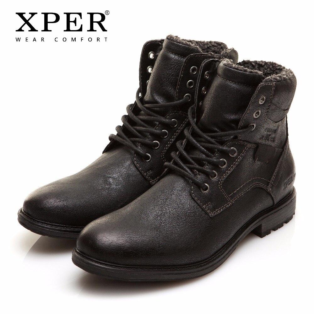 Hommes bottes d'hiver grande taille 40-48 chaud confortable travail bottes de sécurité hommes à lacets chaussures à fermeture éclair marque XPER noir chaud # XHY12509BL