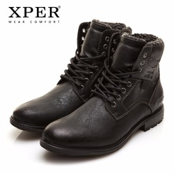 Men Winter Boots Big Size 41-46 Warm Comfortable Working Safety 2017 Winter Lace-Up Zipper Men Shoes Brand XPER #XHY12509BL