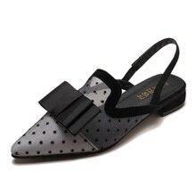 Sandalet kadın 2018 seksi örgü terlik kadın Slingback sandalet düşük topuk rahat terlik sandalet kaydırıcılar ayakkabı T1808029A