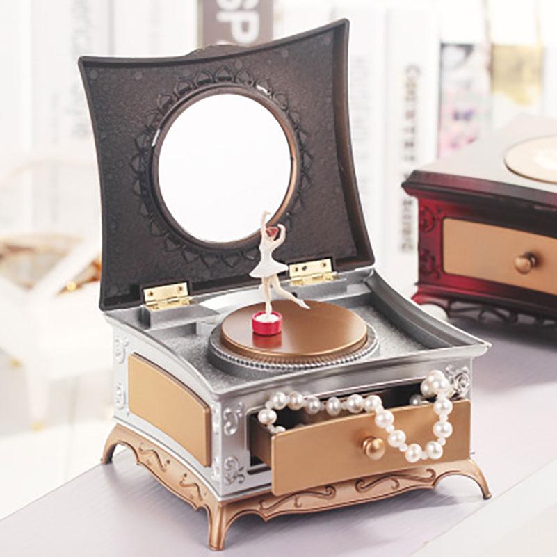 Classical Dancing rotating Girl music box with makeup mirror single drawer music box Song For Elise Mechanical Dancing Ballerina