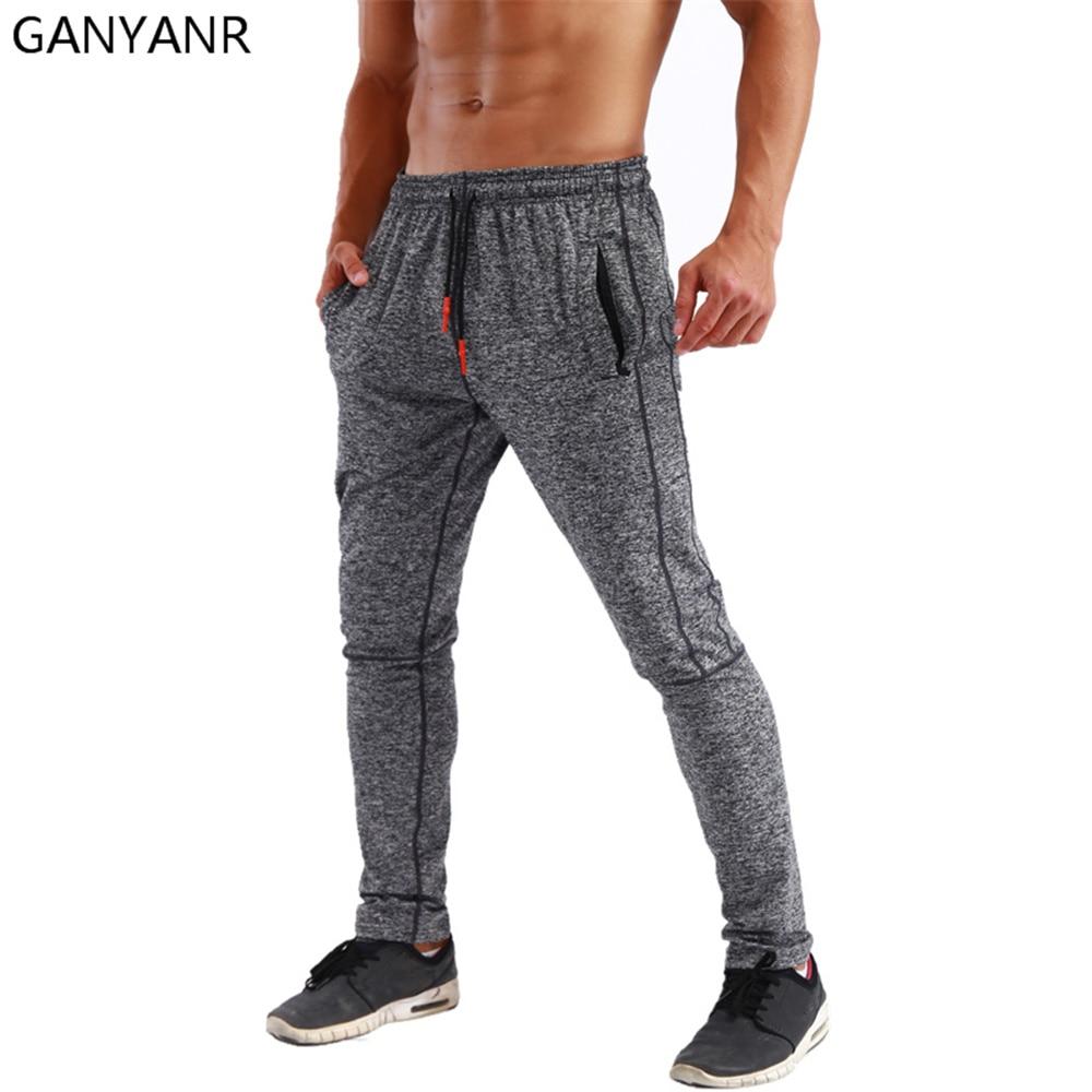 GANYANR pantalons de course hommes Sport Leggings Jogging Basketball entraînement Fitness Gym athlétique élastique polaire Football pantalons de survêtement