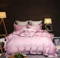 4/7 adet Pembe Prenses lüks Nakış Mısır pamuk yatak seti Yorgan yatak çarşaf kılıfı çarşaf Yastık Kılıfı Kraliçe kral