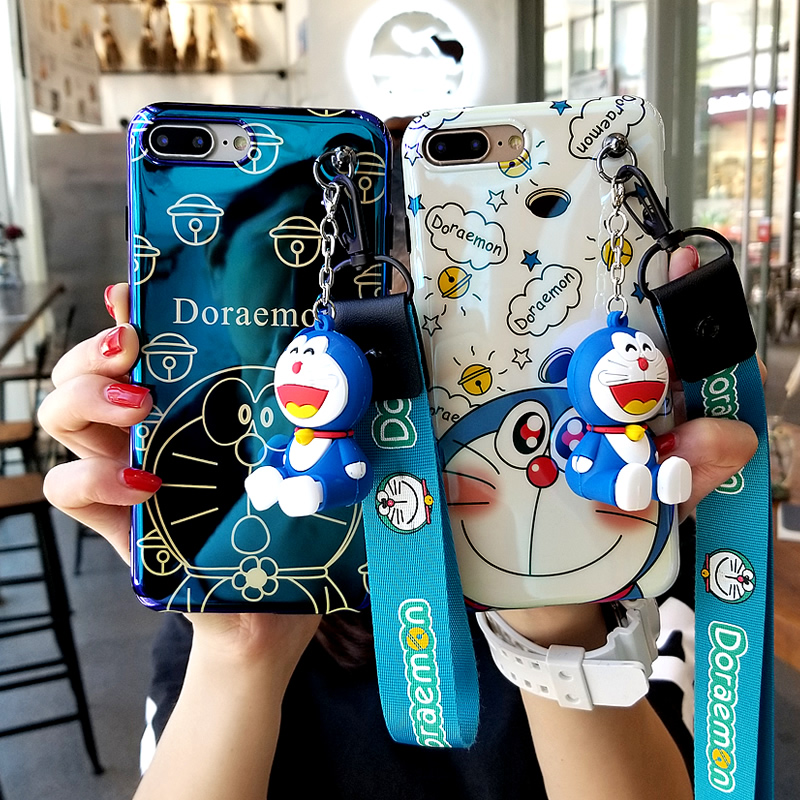 For iPhone XR Doraemon case, Cute Japan Cartoon Soft case For iPhone XS Max X 8 8plus 7 7plus 6 6S 6P cover + toy stander+ Strap summer casual bodycon dresses