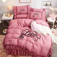 Princess Style Bed Set 4pcs Duvet Cover Pillowcase Flat Bed Sheet Bed Skirt Ruffles Solid Bean Paste Blue Ginger Yellow Purple