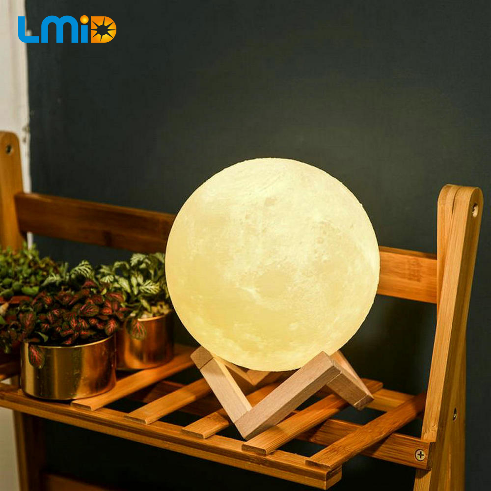 LMID 3D Print Moon Night Lamp Colorful Change Touch Switch Usb Rechargeable Led Night Light Home Decor Creative Gift novelty 3d full moon lamp led night light usb rechargeable color changing desk table light home decor 8 10 12 15 18 20cm