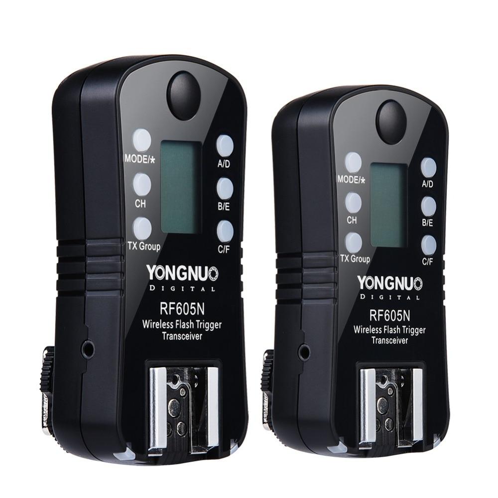 1 paire PYONGNUO D'origine RF-605N RF-605 RF605 Sans Fil Déclencheur Flash avec LCD Pour Nik D7100 D7000 D5200 D5100 D5000 D3200 d3100