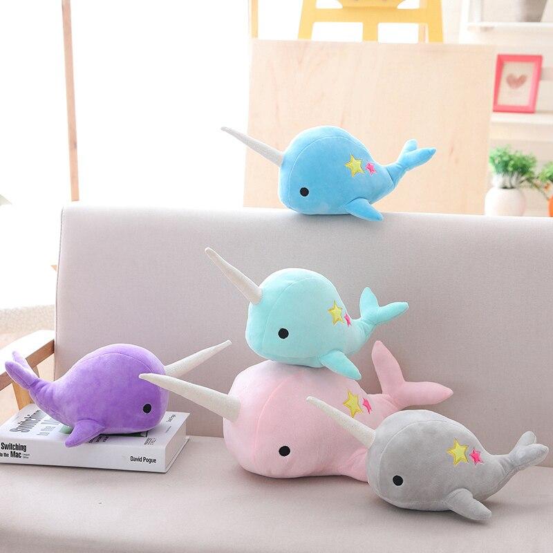 25-35cm narval baleia binário estrela boneca brinquedo de pelúcia macio animal oceano mar brinquedos de pelúcia para crianças presente de natal criança brinquedos