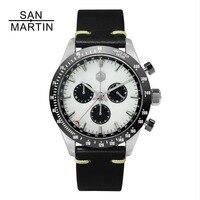 San Martin Новый Винтаж Кварцевые часы нержавеющая сталь хронограф керамика ободок Швейцарский механизм высокое качество наручные