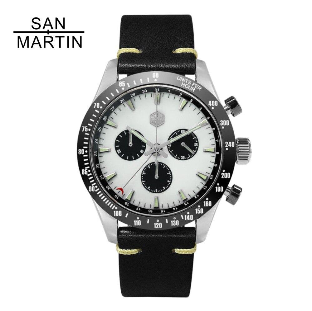 San Martin New Vintage Quartz Montre Stainlss Acier Chronographe montre En Céramique lunette Suisse Mouvement De Haute Qualité Horloge Montre-Bracelet