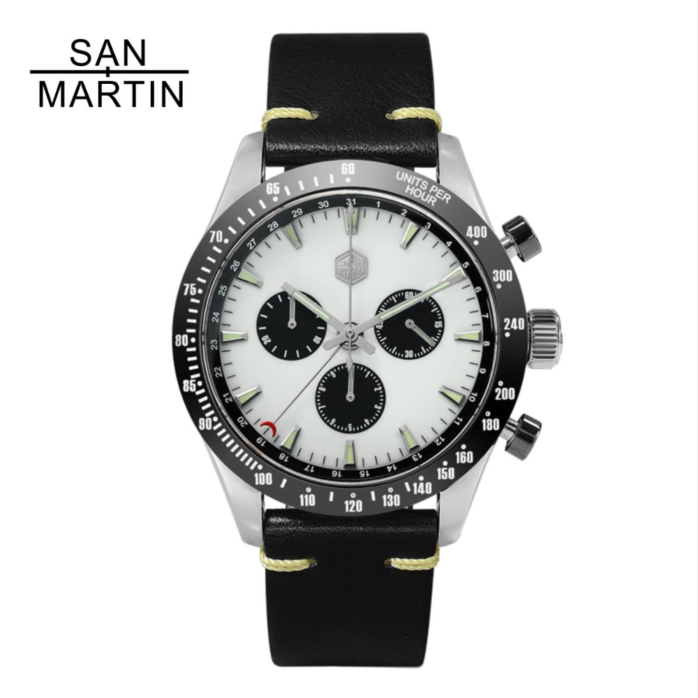 San Martin New Vintage Quartz Watch Stainlss Steel Chronograph watch Ceramic bezel Swiss Movement High Quality Clock Wristwatch